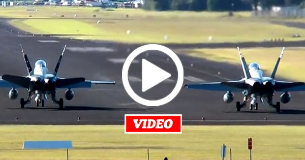 VIDEO: F/A-18 Hornets Take Off in 30+ Knot Crosswind Leaving Skid Marks on the Runway